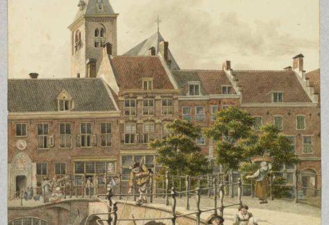 Tekening Weesbrug met Reguiierenklooster aan Oude gracht - J. Verheijen, 1817
