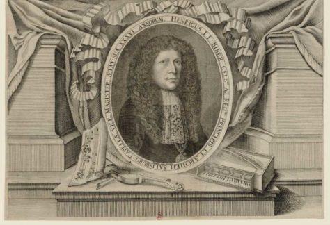 Gravure met portret Heinrich Biber