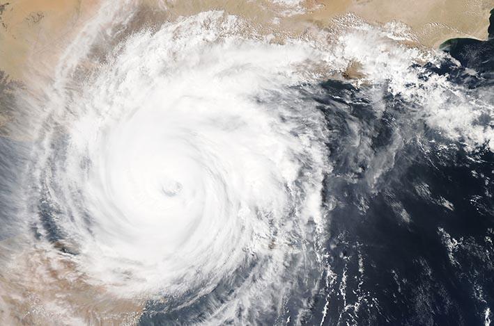 Foto cycloon van bovenaf