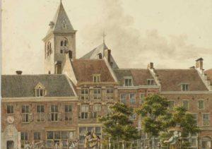 Tekening voormalig Regulierenklooster aan de Oudegracht te Utrecht - A. Verheijen, 1817
