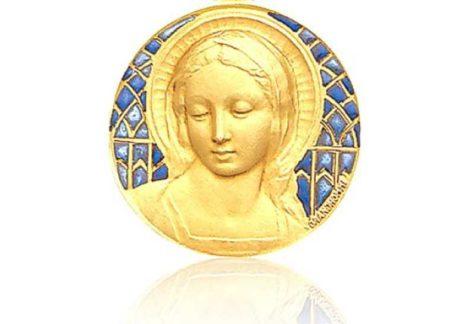 Medaillon met hoofd van Maria in goud