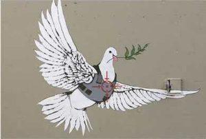 Graffiti met vredesduif in Bethlehem