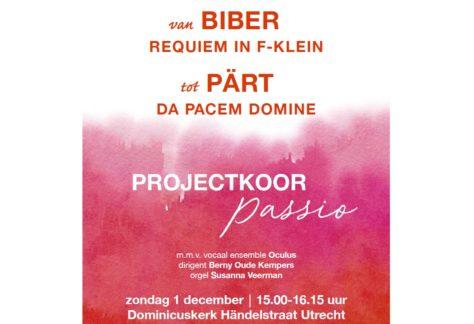 Flyer najaarsconcert projectkoor Passio, 1 december 2019