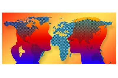 Gestileerde gezichten op wereldkaart - Logo Huiskamer van Dominicus